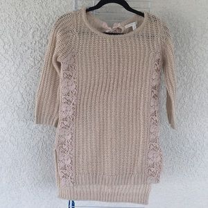 Lauren Conrad Lace Side Chunky Knit Sweater Sz Xs